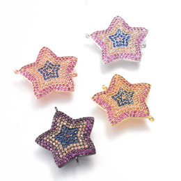 Wholesale Metal Star Shapes - 4 Color Star Shape Micro Cubic Zircon Charms Metal Stamping Crafted Connector, ICSP112, Size 23.6*22mm