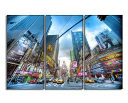 Wholesale Paintings Cityscapes - 3 Pieces Canvas Art Prints Painting Modern Cityscape Digital Painting Wall Decor Ready to Hang 30cmx60cmx3pcs