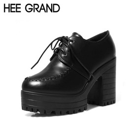 Wholesale High Platfrom - Wholesale-HEE GRAND 2016 Women Ankle Boots Autumn Women Lace Up High Heels Platfrom Motorcycle Boot Shoes Woman 2 Colors Size 35-39 XWX213