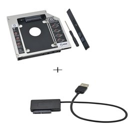 "Wholesale Sata Hard Drive Caddy Usb - Wholesale- Aluminum 2nd HDD Caddy 12.7mm SATA 3.0 SSD 2.5"" HDD Case Hard Drive Enclosure Optical Bay+USB to SATA Cable"
