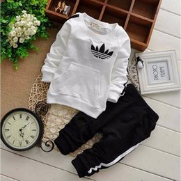 Wholesale French Girls Clothes - Brand Baby Tracksuits Spring Autumn Baby Boy Girl Cotton Full sleeved Jacket+pants 2pcs sets Boys Kid Clothing Set Baby Set