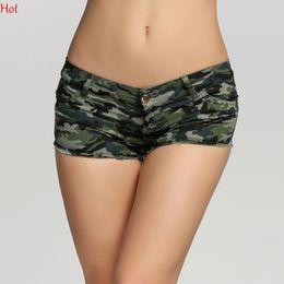 Wholesale Girls Camouflage Shorts - Plus Size Summer Style Women Shorts Camouflage Jeans Short Pants Sexy Shorts Mini Hot Punk Girls Denim Low Waist Shorts Army Green SV005985