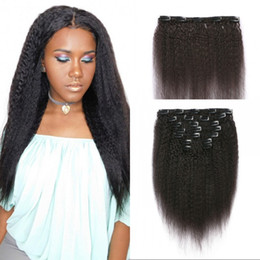 Wholesale Coarse Virgin Hair - Coarse Yaki Clip in Human Hair Extension 7pcs Brazilian Virgin Hair Kinky Straight Clip ins for Black Women FDSHINE