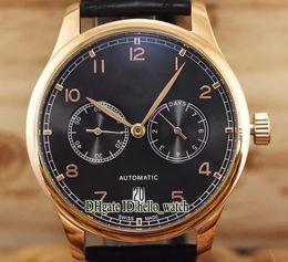 Ver reserva de energía del día online-Barato New Portugieser IW500125 esfera negra, caja de oro rosa, 7 días Reserva de energía automática para hombre reloj correa de cuero hebilla plegable Relojes