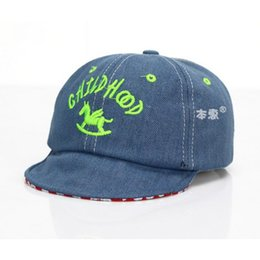 Wholesale Kids Horse Hats - wholesale 5 pcs Unisex Kids Soft Brim Visor Cap Child Kid Wooden Horse Embroidery Adjustable Denim Baseball Hat MZ4330