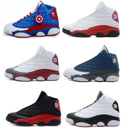 Wholesale Army Navy Game - heap air retro 13 XIII MENS Basketball Shoes black cat Sport Sneaker Boots Bred Navy Game hologram grey toe Flint Grey Athletics Shoes