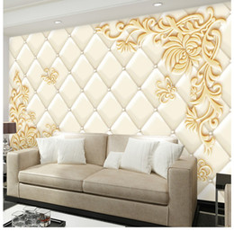Wholesale Tv Wall Decoration - TV background video wall wallpaper 3D stereo relief mural decoration living room European luxury wallpaper bedroom wall