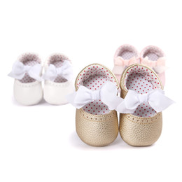 Wholesale Dress Shoes Girl Bow - Wholesale- New Sweet PU Leather Newborn Baby Girls Princess Mary Jane Big Bow Soft Soled Shoes Crib Babe Ballet Dress Prewalkers Shoes