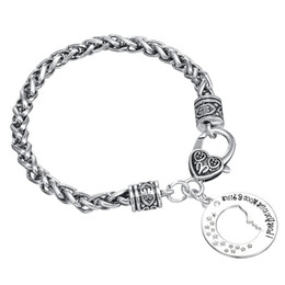 Wholesale Cheap Bracelet Pendants - Cheap Hollow The perfect side face Letters Engraved Charm Pendant Wheat Chain Stainless Steel Charm Bracelet With Lobster claw clasps