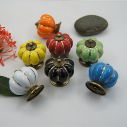 Wholesale Handle Cabinet Kitchen - 1pcs 40mm Vintage Pumpkin Ceramic Door Knobs Handle Kitchen Door Furniture Cabinet Drawer Cupboard Pull Knobs