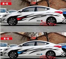 Wholesale Rs Racing - A Set auto Car truck motor racing RS R flame power sport racing Styling Vinyl Car Body Sticker Waist hood Line Decals