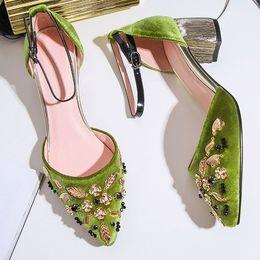 Wholesale Ladies Sequin Shoes - vintage ladies high heel sandals women wedding shoes 2017 green black high heel bridal shoes for wedding evening party prom shoes