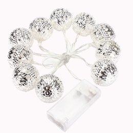 Wholesale Lantern Light Set - Wholesale- Set of 10 1m Ball String Lanterns LED Fairy Lights Battery Operated Garden Wedding Home Party Christmas Decoration
