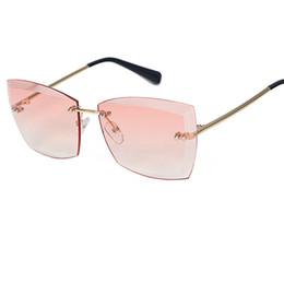 Wholesale Ladies Sunglasses New Style - Summer Styles Women Rimless Sunglasses New Ladies Thick Cat Eye Gradient Lens Glasses UV400 A120
