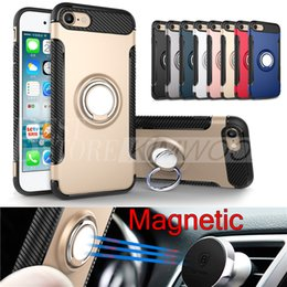 Wholesale Magnetic Iphone Holders - Hybrid TPU+PC 2-in-1 Armor Case Shock-Proof Cases 360 Ring Stand Holder Magnetic Back Cover For iPhone 7 6S Plus Samsung S8 S7 Edge