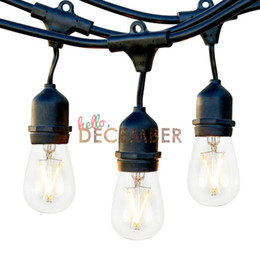 Wholesale white bulb outdoor string lights - 10M 20M 30M 40M 50M Dimmable Edison LED String Lights Outdoor Waterproof LED Commercial Grade Strand Light Strings With 2W LED Bulbs