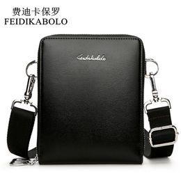 Wholesale Promotional Leather - FEIDIKABOLO New Fashion Men Bags Leather Male Bag Double Zipper Men Messenger Bags Promotional Small Crossbody Shoulder Bag Man