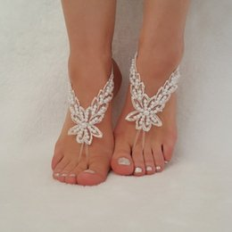 Wholesale Cheap Custom Wedding Shoes - Cheap Lace Bridal Shoes For Beach Wedding Bead Wedding Shoe 2017 Custom Made Bridal Accessories Free Shipping