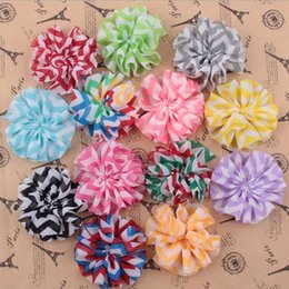 Wholesale Chevron Fabric Wholesalers - Chevron Printed Fabric Flowers Shabby Chiffon Fabric hair Flowers heads for headbands brooches YH566