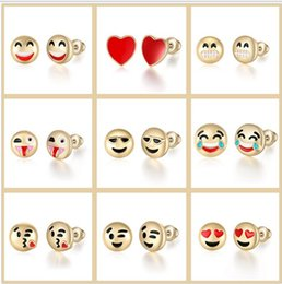 Wholesale Gold Earrings For Kids - 25Pairs Emoji 18k Gold Plated Stud Earrings Kids Jewelry Emoji Charm Earring Lovely Smiley Face Emoticons Alloy Earrings For Women Fashion