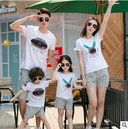 Wholesale Cartoon Beach Shorts - Family movement sets fashion father son cartoon printed T-shirt+stripe shorts 2 pc clothing sets mother and dauther beach clothes T3283