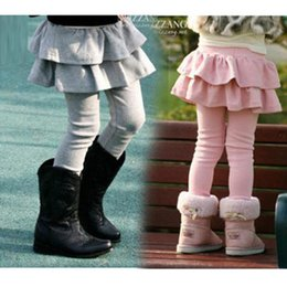 Wholesale Kids Skirted Leggings - Kids Legging Girls Skirts Pants Cake Skirt Girl Baby Pants Tutu Kids Leggings Skirt-Pants Pleated Skirt