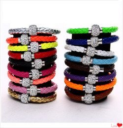Wholesale Shamballa Charm Bracelets - Mix Color New Shamballa PU Leather Bracelet & CZ Disco Crystal Magnetic Clasp Bracelet dhl free shipping