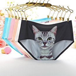Wholesale Trace Underwear - No Trace Of Women's Panties Panties For Women 3D Printing Anti Exposed Cat Underwear Panties Women