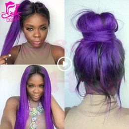 Wholesale Dark Purple Wigs - Top silk straight Dark Root Ombre purple Wigs Heat Resistant Lace Front Wig Ombre purple Synthetic Lace Front Wigs For Black Women