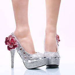 Wholesale Silver Rhinestone Bridal Shoes 11 - 2017 Wedding Ceremony Shoes 14cm High Heel Silver Rhinestone Bridal Dress Shoes with Purple Crystal Flower Party Prom Pumps