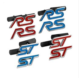 Wholesale ford focus car accessories - Blue Red Chrome Metal S RS ST Car Grille Styling Emblem Badge 3D Car Sticker Refitting Decal for FORD Focus Mondeo Accessories