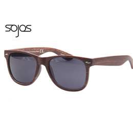 Wholesale Wholesale Frameless Paintings - Wholesale-Hot Sale sojos Sunglasses Women Men with Rivet Imitation wood Pattern eyewear Painting Pouch Packing sun glasses
