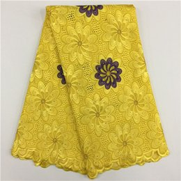 Wholesale Swiss Lace Yard - 5 Yards lot Luxury yellow and purple embroidery african cotton lace fabric flower design swiss voile lace for clothes