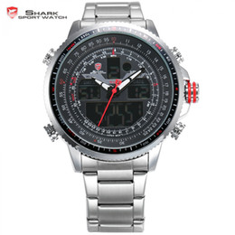 Wholesale Shark Luxury Watches - Wholesale- Winghead SHARK Sport Watch Luxury Silver LCD Analog Date Alarm Stainless Steel Quartz Running Clock Men Digital Watch   SH325