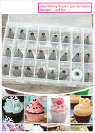 Wholesale Nozzle Oil - Cream Nozzle Mouth Piping Nozzles Cake Decorating Mouth Baking Flower decoration Stainless Steel 24pcs+1pcs Set Milking oil Tools Free DHL