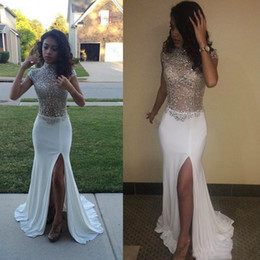 Wholesale Short Chiffon Beaded Cocktail Dress - Gorgeous Shinning Beaded High Neck Prom Dresses 2k17 Cap Sleeve White Chiffon High Split Evening Gowns See Through Cocktail Party Dress