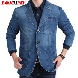 Wholesale Cowboy Clothes For Men - Wholesale- LONMMY M-4XL Denim jacket men blazer Cotton Suits for men Cowboy blazer jeans jacket men jaqueta Brand-clothing Casual
