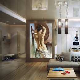 Wholesale Traditional Sexy Painting - Yi Le Mai Frameless Pure Hand Painted Modern Wall Decoration Art Oil Painting On Quality Canvas Nude Back Sexy Girl Competitive Price