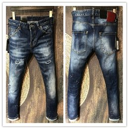 Wholesale Cotton Trouser Fabric - Wholesale-male Biker Jeans destroyed denim fabric elastic Slim Fit Washed Denim skinny Pants Joggers Skinny Men ripped trousers