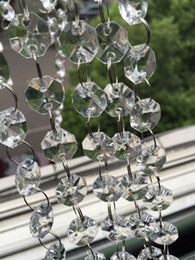 Wholesale acrylic crystal bead garland - 66 FT Crystal Garland Strands 14mm clear Acrylic crystal octagon beads chain Wedding Party Manzanita Tree Hanging Wedding Decorations