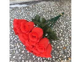 Wholesale Silk Fabric Roses - Artificial flower fabric silk flower rose Valentine gift home wedding decoration