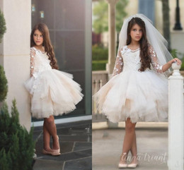 Wholesale Long Ruffled Formal Skirt - Stunning Tiered Tulle Skirts Flower Girl Dresses Floral Appliques Long Sleeve Girls Junior Bridesmaid Dress Knee Length Kids Formal Wear