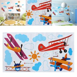 Wholesale Kids Rooms Themes - Cute Cartoon Airplane Sun Cloud DIY Wall Stickers Home Decor Blue Sky Theme Wallpaper Gifts for Kids Room Decor Sticker