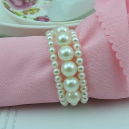 Wholesale Napkin Rings Pearls - New Shiny White Round Imitation Pearls Napkin Rings for wedding dinner,showers,holidays,Table Decoration Accessories #Z530