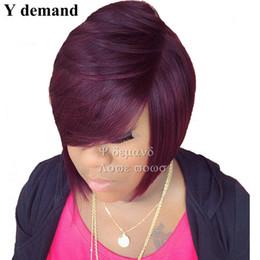 Vente chaude Synthétique Droit Perruques Pixiec Couper Les Cheveux Avec Bangs Afro-Américain Court Vin Rouge Perruque Pour Les Femmes Noires En Stock ? partir de fabricateur