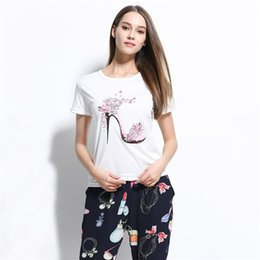 Wholesale Womens Long Sleeve Crop Tops - Kawaii High-heeled shoes t shirts for women Fashion New t-shirt clothes crop tops womens clothing short sleeve tshirts NV53 RF
