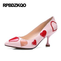 Wholesale Heart Strange - Pointed Toe Special Heart Pumps Black Runway Sweet Pink Thin Luxury Brand Women Shoes 2017 Strange Patent Leather Size 33 Medium