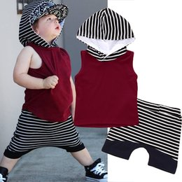 Wholesale Baby Boy Vest 18 24 - 2018 Fashion Summer Toddler Outfits Set Kids Baby Boy stripe Hooded Red Tops T-shirts Vest +Stripe Short Pants Child Clothes Set 2PCS