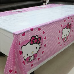 Wholesale Plastic Tablecover - Wholesale-108*180cm kids girls hello kitty cartoon party disposable tablecover birthday party plastic tablecloth supplies