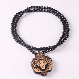 Wholesale Tiger Wood Wholesalers - Mix Styles Hip Hop Goodwood Rosary Necklaces Lion Tiger Bear Skull Head Pendant With 128 Wood Beads Chains NYC Jewelry